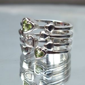 Jewelry - Amethyst and Peridot Heart Shaped Gemstone Ring
